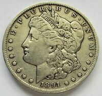 TOP 100 & WOW  VAM 2A MOUSTACHE 1891 MORGAN DOLLAR  DIE BREAK LATE DIE STATE