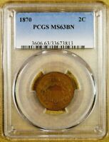 1870 PCGS MINT STATE 63 BN TWO CENT PIECE