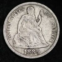 1889 SEATED LIBERTY DIME CHOICE VF SHIPS FREE E376 UH
