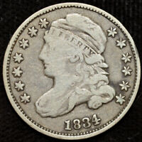 1834 CAPPED BUST DIME, FINE CONDITION, EARLY SILVER DIME, SHIPS FREE, C4399