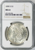 1890-S $1 MORGAN DOLLAR NGC MINT STATE 61
