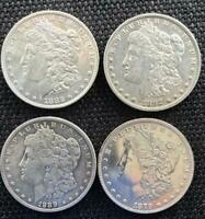 GROUP OF 4 SILVER DOLLARS 1879 1882 O 1889 O 1892 O MORGAN DOLLARS SHIPS  FREE