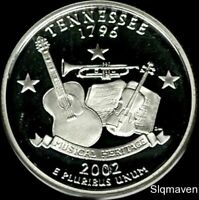 2002 S 90  SILVER TENNESSEE STATE QUARTER DEEP CAMEO GEM PRO