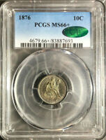 1876 10C SEATED LIBERTY DIME PCGS MINT STATE 66 CAC