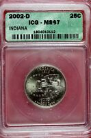 2002   D ICG MS67 INDIANA STATE QUARTER    B13584