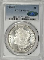 1880-S MORGAN DOLLAR PCGS MINT STATE 66 CAC APPROVED GEM ASP0619