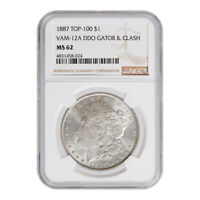 CERTIFIED MORGAN SILVER DOLLAR 1887 TOP 100 VAM-12A MINT STATE 62 NGC