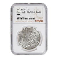 CERTIFIED MORGAN SILVER DOLLAR 1887 TOP 100 VAM-12A MINT STATE 63 NGC