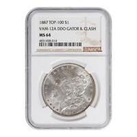 CERTIFIED MORGAN SILVER DOLLAR 1887 TOP 100 VAM-12A MINT STATE 64 NGC