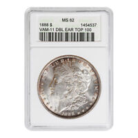 CERTIFIED MORGAN SILVER DOLLAR 1888 TOP 100 VAM-11 DOUBLE EAR MINT STATE 62 ANACS
