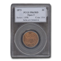 1873 TWO CENT PIECE PR-63 PCGS RED, OPEN 3 - SKU199536
