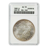 CERTIFIED MORGAN SILVER DOLLAR 1889 VAM-33 DOUBLE EAR AU53 ANACS