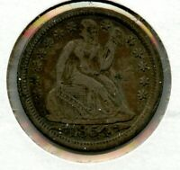 1854-O SEATED LIBERTY SILVER DIME 10C COIN NEW ORLEANS MINT - JD180
