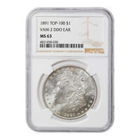 CERTIFIED MORGAN SILVER DOLLAR 1891 TOP 100 VAM-2 DDO EAR MINT STATE 63 NGC