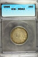 1835   ICG MS62 CAPPED BUST QUARTER  B18750