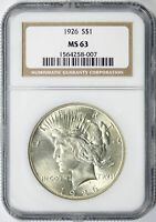 1926 $1 PEACE DOLLAR NGC MINT STATE 63