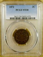 1872 PCGS VF30 TWO CENT PIECE - KEY DATE