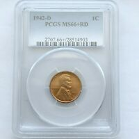 1942 D 1C PCGS MINT STATE 66 RD LINCOLN WHEAT CENT MINT STATE GEM RED PENNY BU LOTP12