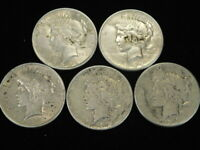 1922-1926 PEACE DOLLARS LOT OF 5 COINS VF-EXTRA FINE  90 SILVER L1