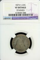 1875    S ANACS VF DETAILS STAINED TWENTY CENT PIECE SEATED
