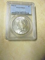 1925-S SILVER PEACE DOLLAR-MINT STATE 63-BRIGHT CARTWHEEL-SEMI-KEY-ONLY 1,610,000 MINTED-