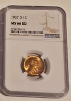 1937 D LINCOLN CENT NGC MINT STATE 66 RD SHIPS FREE