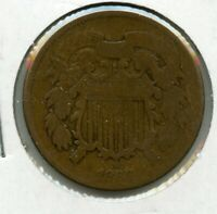 1866 TWO CENT PIECE COIN JD389
