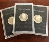 LOT OF  3  1971 S PROOF SILVER IKE DOLLAR COINS