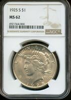 1925-S NGC MINT STATE 62  MINT STATE 62  UNITED STATES SILVER PEACE DOLLAR COIN DA213