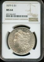 1879-S NGC MINT STATE 64  MINT STATE 64  UNITED STATES SILVER MORGAN DOLLAR COIN DA219