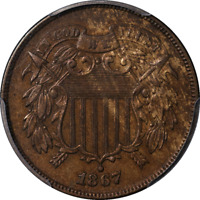 1867 TWO 2 CENT PIECE DOUBLED DIE OBVERSE PCGS AU DETAILS  EYE APPEAL