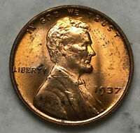 1937 LINCOLN CENT - UNCIRCULATED. FEW SPOTS