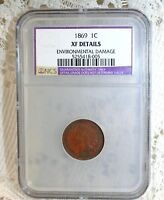 1869 US INDIAN HEAD CENT PENNY COIN NCS / NGC EXTRA FINE  DETAILS