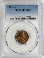 1931-S 1C LINCOLN WHEAT CENT PCGS MINT STATE 63RB