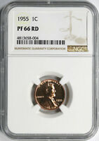 1955 PROOF 1C LINCOLN CENT NGC PF66RD