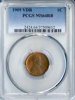 1909 VDB LINCOLN CENT MINT STATE 64RB PCGS PA37509612