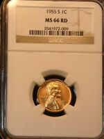 1955-S LINCOLN CENT NGC MINT STATE 66RD  BRIGHT RED SUPERB LUSTER, PPQ G661
