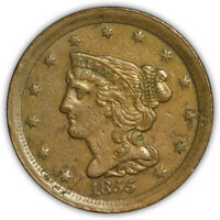 1855 BRAIDED HAIR HALF CENT. HARD TO FIND COIN.