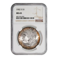 CERTIFIED MORGAN SILVER DOLLAR 1902-S MINT STATE 65 NGC