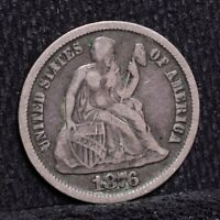 1876-CC SEATED LIBERTY DIME - VF DETAILS 26400