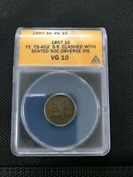 1857 CHERRYPICKERS FS 402 CLASHED WITH SEATED HALF FLYING EAGLE CENT SHIPS FREE