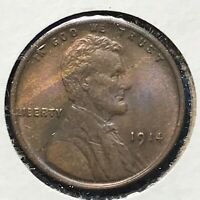 1914 LINCOLN WHEAT CENT GORGEOUS RED BROWN SHIPS FREE