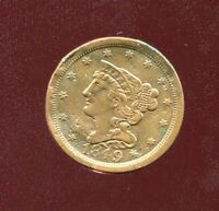 1849 BRAIDED HAIR COPPER HALF CENT LOW MINTAGE EXTRA FINE  DETAIL