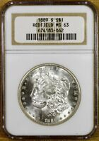 1889-S NGC MINT STATE 63 MORGAN DOLLAR - 100 WHITE - REDFIELD HOARD