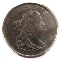 1804 SPIKED CHIN DRAPED BUST HALF CENT 1/2C COIN - CERTIFIED PCGS AU DETAILS