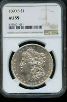 1890-S NGC AU 55 ABOUT UNCIRCULATED 55 SILVER MORGAN DOLLAR COIN DA371