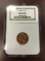 1941-S NGC MINT STATE 66 RD MINT STATE 66 RED LINCOLN WHEAT CENT PENNY
