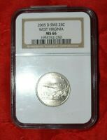 2005 D NGC MS 66 WEST VIRGINIA STATE QUARTER GRADED COIN  Q2