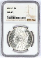 1885-S MORGAN SILVER DOLLAR NGC MINT STATE 60 $1 UNC