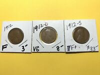 1912  P-D-S    LINCOLN CENTS  3 COINS